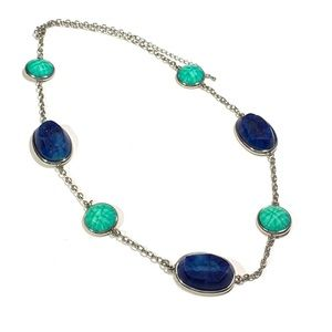 Beaded Chunky Style Blue Stone Gem Necklace